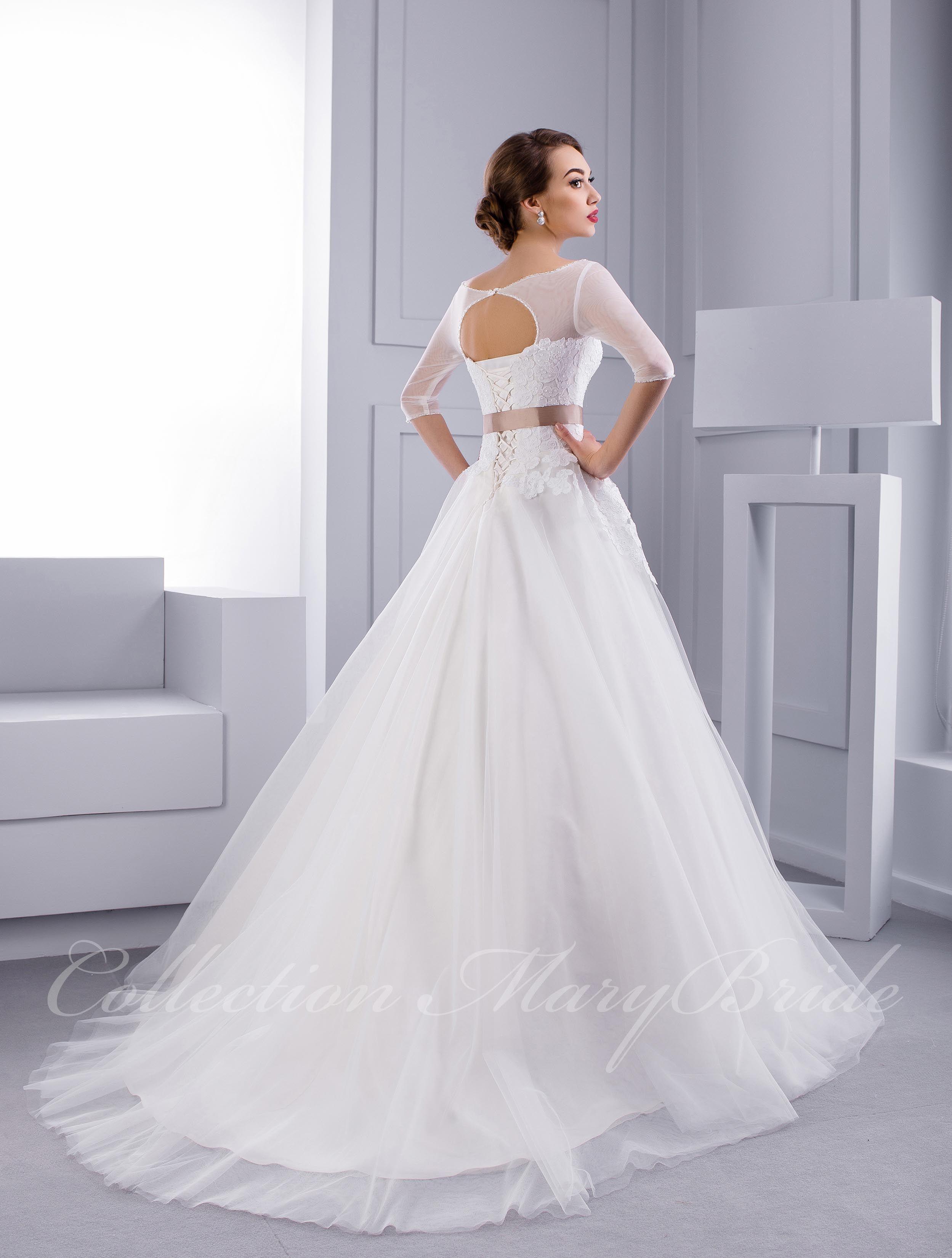 Be A Princess Pujcovna Bile Svatebni Saty Mary Bride S 3 4 Rukavy